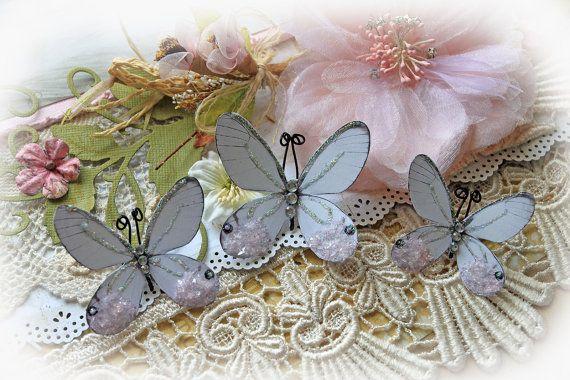 Kiss Of Pink Butterflies Glitter Glass Butterfly Set  Scrapbook Embellishment Tag Card Mini Album Wedding