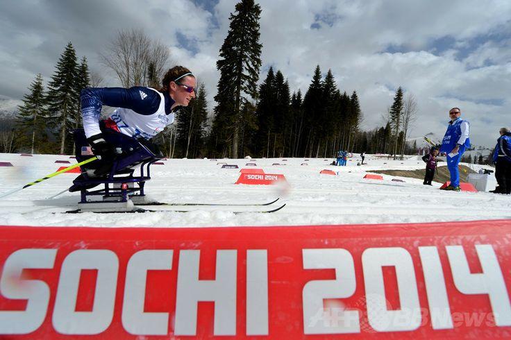 ソチ冬季パラリンピック、クロスカントリースキー女子12キロメートル(座位)。競技に臨むタチアナ・マクファーデン(Tatyana McFadden、2014年3月9日撮影)。(c)AFP/KIRILL KUDRYAVTSEV ▼10Mar2014AFP|米国とロシアの家族のために滑走したマクファーデン、ソチパラリンピック http://www.afpbb.com/articles/-/3010053 #Sochi2014 #Paralympic