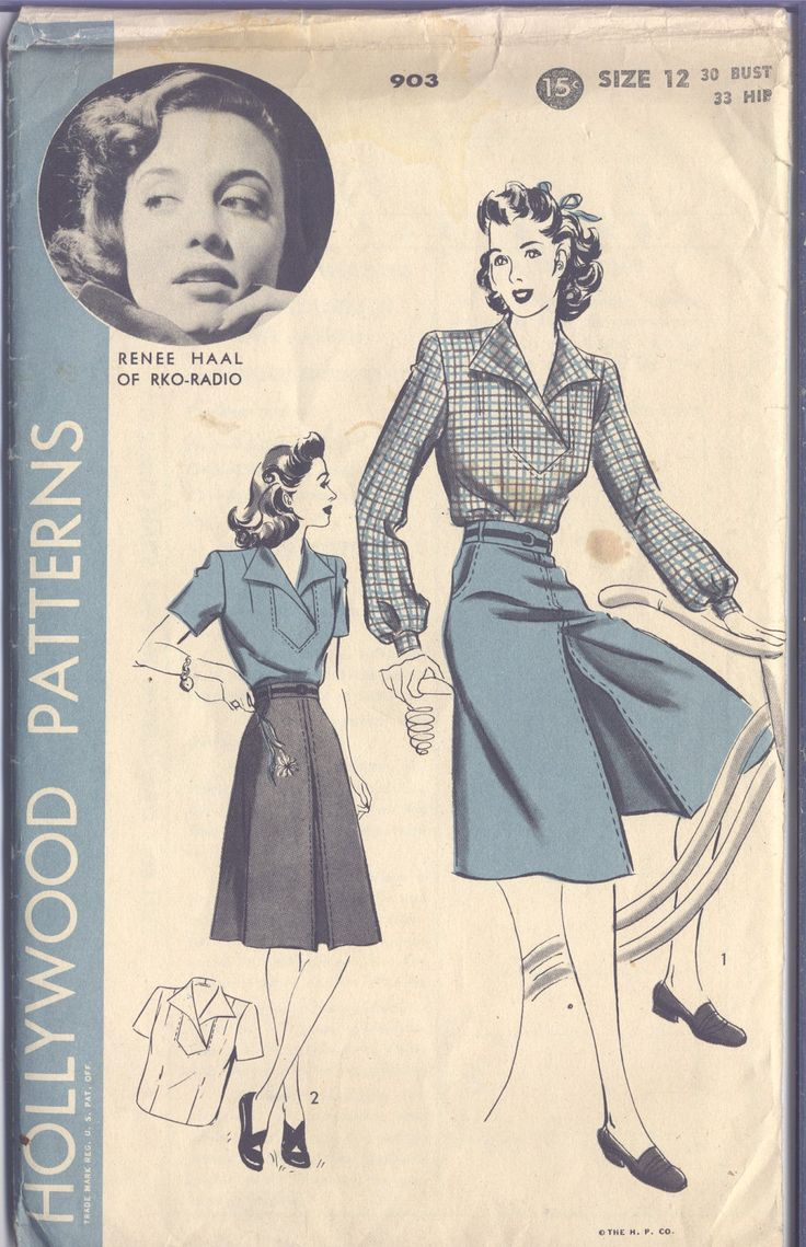 1940s Renee Haal Pattern - Culotte Skirt - Blouse - - (c)1942.
