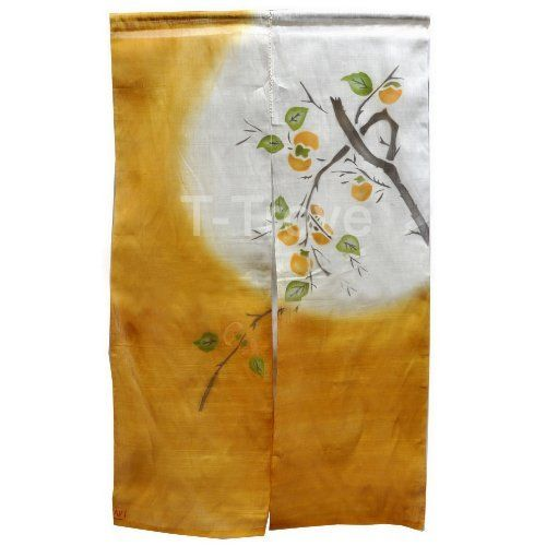 Noren Or Door Curtain Orange with Moon and Persimmon Tree by T-Trove. $68.00. Rod not included. Size: 35in W x 58.5in L. Perfect as a door curtain for a little privacy. Curtain has sleeve for rod. Material: Hand woven linen with a mesh look. Orders are shipped via FedEx with tracking numbers.  Expedited shipping is available.  FedEx shipping only applies to the 48 continental states.  Alaska and Hawaii are shipped using US Postal Service.