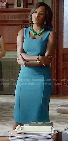 Annalise's teal blue dress on How to Get Away with Murder.  Outfit Details: http://wornontv.net/53663/ #HTGAWM