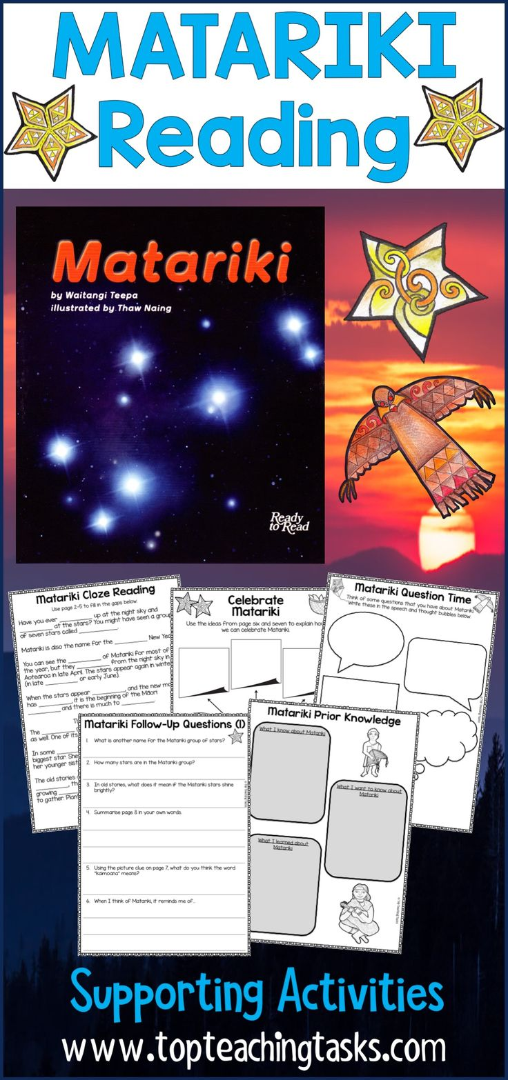 Help your students reading at the Gold Level to dive deeper into Matariki with our reading comprehension follow up activities. 11 activities utilising a range of reading comprehension strategies. Print them out! Perfect to use in the classroom, as an early finisher activity or for homework. #MatarikiReading #MatarikiBookStudy #MatarikiYear3