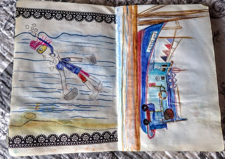 Travels with my Granddaughter by Sofia Cole  Drawing by Tilly of herself snorkeling & fishing boat at Mersing Malaysia