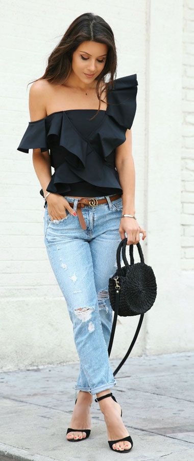 #ruffle #black off shoulder top and #jeans #outfit