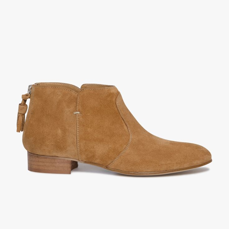 Low-boots marron en cuir velours