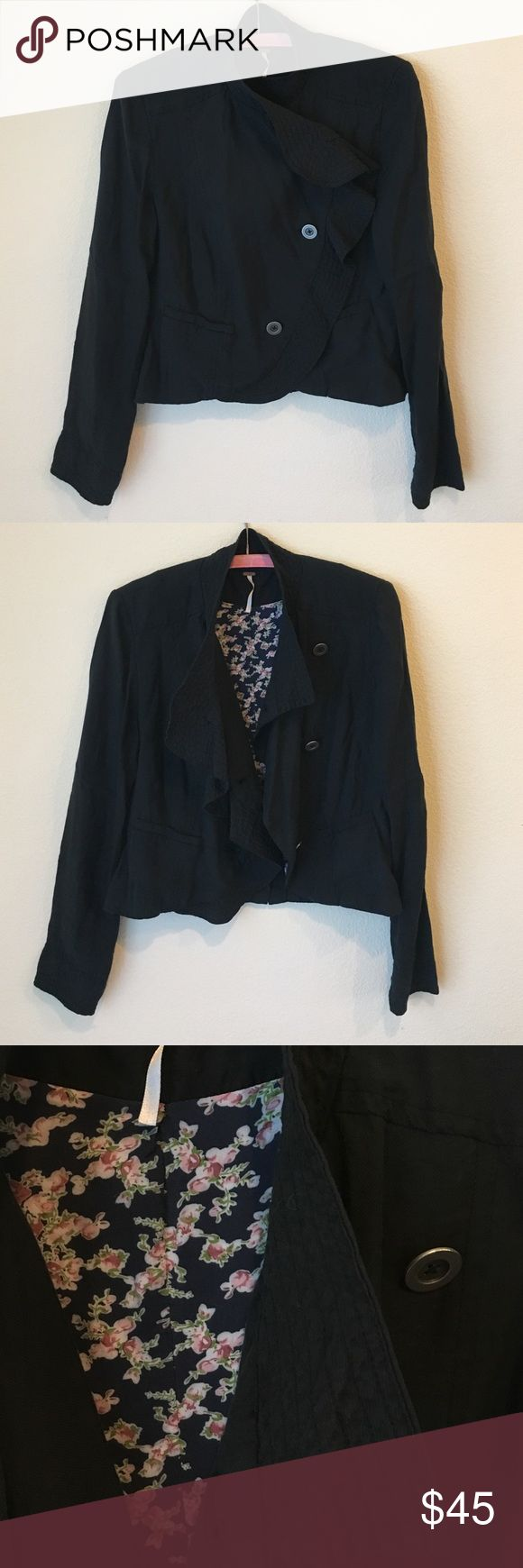 Free People jacket Free People copped style jacket.  Looks cute all buttoned up or left open.  Perfect for Spring or Summer, thin fabric. Free People Jackets & Coats Blazers