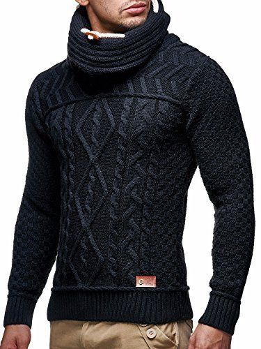 LEIF NELSON Men's Knitted Pullover Small Black