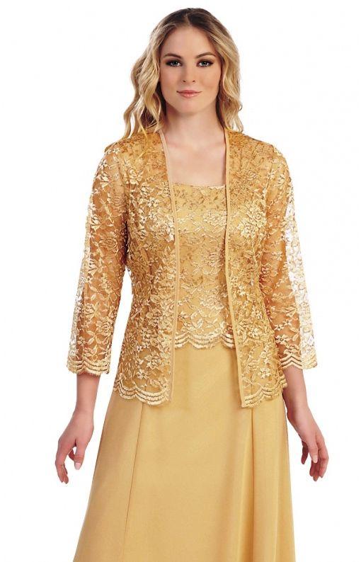 Krátké zlaté společenské šaty s krajkovým kabátkem v roce 2019 ... 2366cfb8df