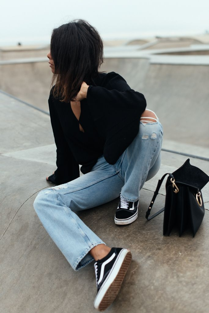 storm wears minkpink blouse and vans oldskool with light jeans at venice beach skatepark in Los angeles theadorabletwo