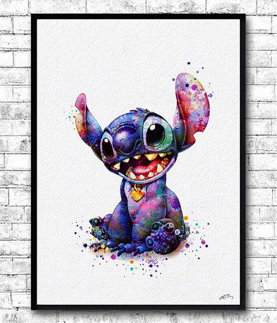 Stitch 2 Watercolor Art Print Ohana Family Poster Lilo And