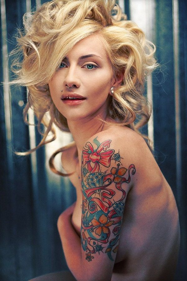 Awesome Feminine Half Sleeve Tattoo Idea.