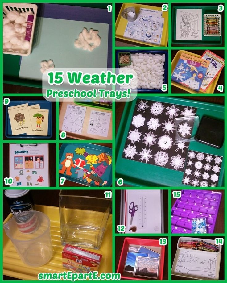 Lots of clouds, snow, and comparing types of weather are among our 15 Weather Preschool Trays! Get links to great free weather preschool printables and more.
