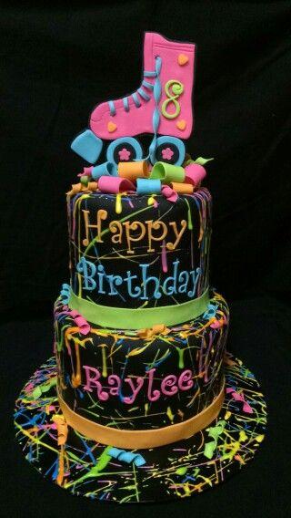 Rollerskating Splatter Paint Birthday Cake