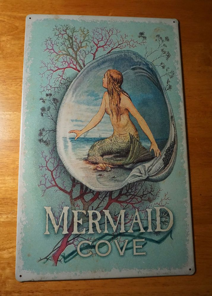 mermaid cove seashell coral vintage style nautical beach home decor sign new ohiowholesale mermaid - Mermaid Home Decor