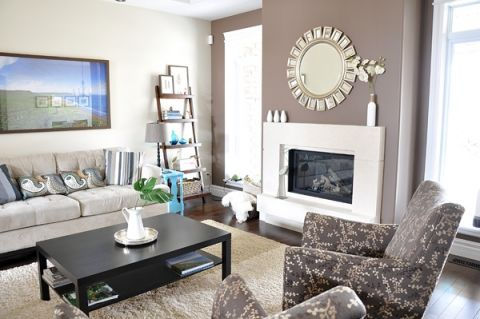 Benjamin Moore White Sand and Benjamin Moore Whitall Brown