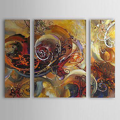 pintado a mano con pintura al óleo abstracta marco estirado - juego de 3 – EUR € 98.99