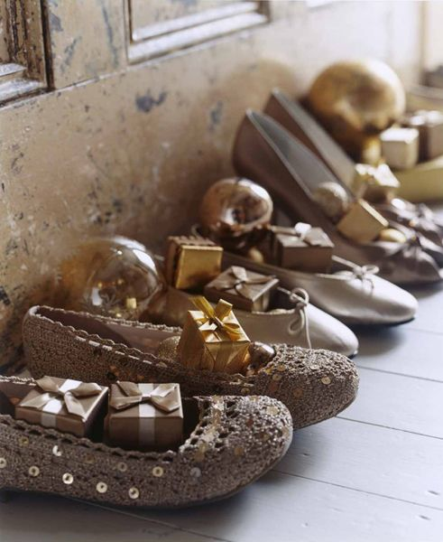 Another pinner said: French christmas poetic wanderlust... my grand-mere always shared the tales of goodies in their x-mas shoes, oranges, walnuts small gifts, nothing extravagant. Photo:  Chris Everard.