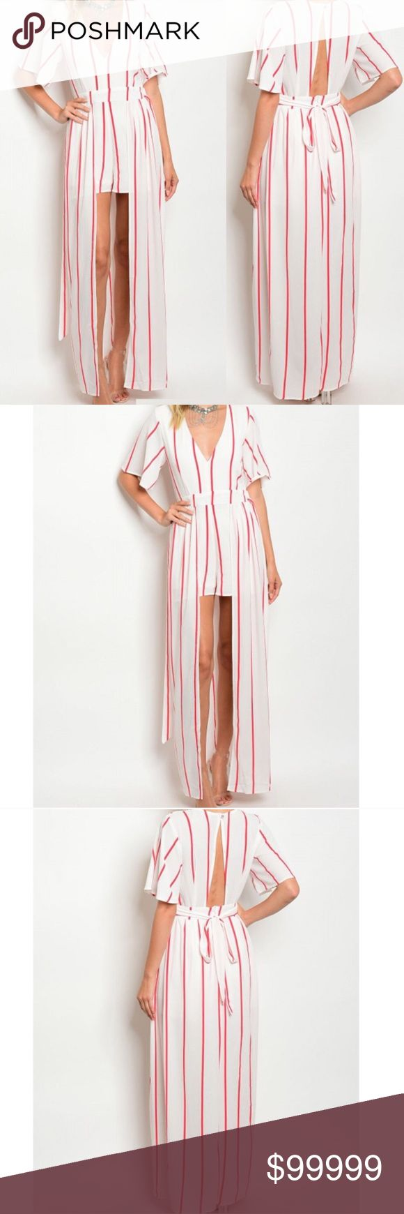 🆕 White and Coral Maxi Wrap Romper White and Coral Plunging Neckline 3/4 Sleeve Romper, With Attached Skirt golden threads Dresses