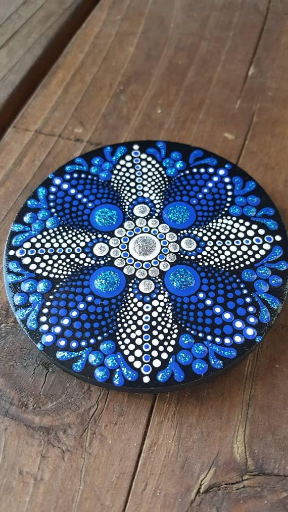 Wood painted magnets acrylic painted discs gift idea