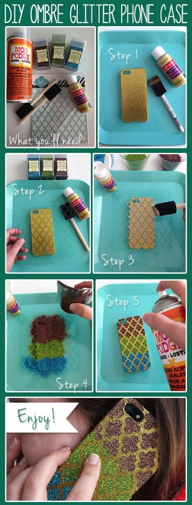 5 Easy Steps to #DIY #Ombre #Smartphone case!   but more like mermaid scales