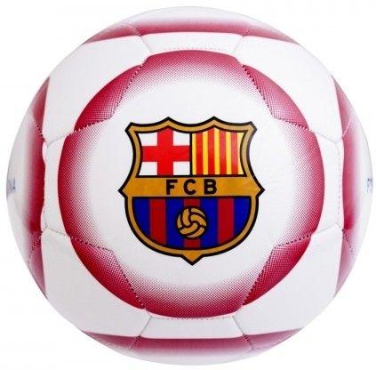 Rood met witte voetbal van FC Barcelona. Deze bal heeft het logo van de Catalaanse club meerdere malen afgebeeld en is de grootte van een officiele wedstrijdbal.   Afmeting: volgt later.. - Bal barcelona leer groot wit crest