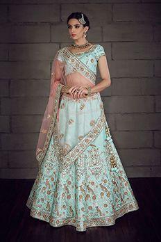 Pure raw silk lehenga choli and net dupatta embellished with zardosi and gotta work  by #Benzer #Benzerworld #Lehenga #BridalWear #IndianBride #GhagraCholi #BridalLehenga
