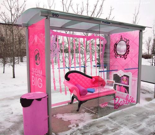 Barbie ; ) all the world pink and clean...now of course it has to be behind glass. For who is Barbie's cleaning crew?