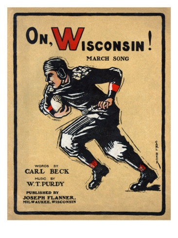 University of Wisconsin Football Player Runs for the End Zone, 1910 Premium Poster