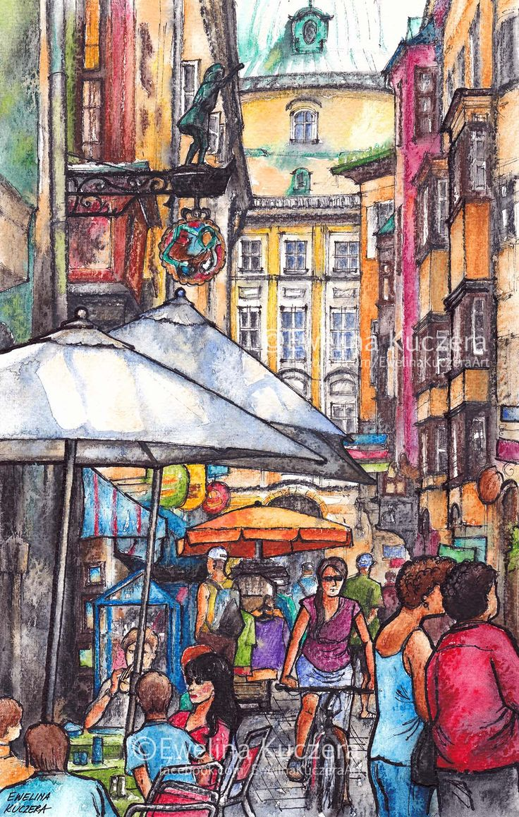 Innsbruck, Austria Ink & watercolor pencils illustration