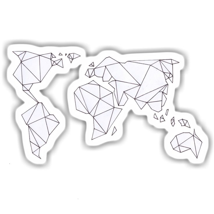 A sticker of a geometric world map. This sticker is waterproof and is 10.5 x 6.5cm with a 3mm white border. Stick to anything like laptops, notebooks, or walls for some added flare.