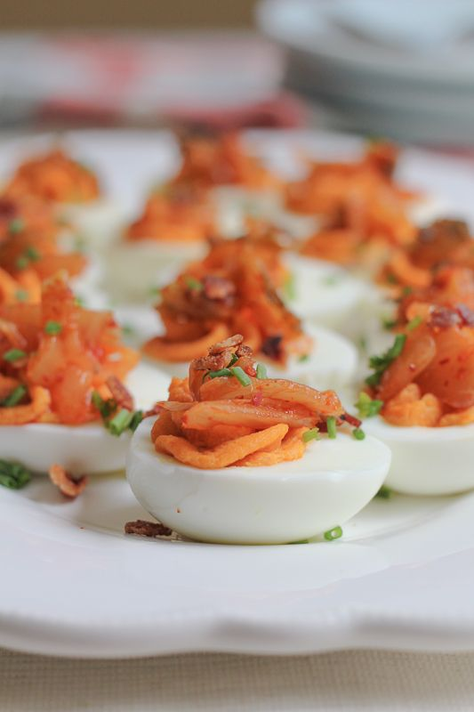 Kimchi Deviled Eggs_closeup: Eggs Appetizers, Egg Recipes, Appetizer Snacks, Appetizer Recipes, Kimchi Deviled, Deviled Eggs Recipe, Food, Eggs Snack, Appetizer Side Recipes