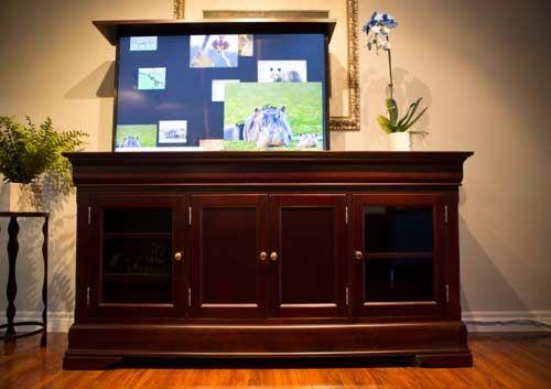 The Tuscany TV Lift Cabinet  Functional and Beautiful with lots of storage space  #tv #tvcabinet #interiordesign #interiordesigner #livingroomdesign #bedroomdesign #tvlift #morphbotics