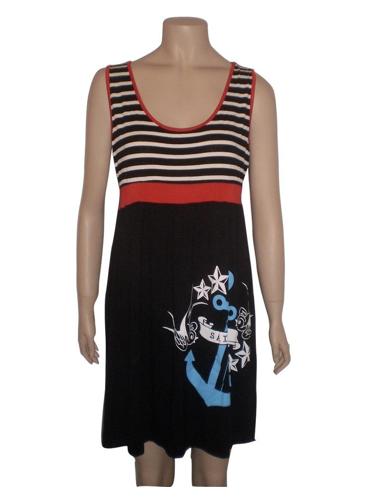 sconto vestito nero a righe rosse e bianche con ancora azzurra cobalto blu con stelle e uccelli rockabilly. €15,00, via Etsy.