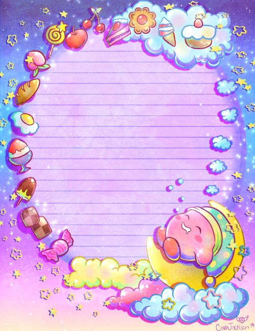 """doublemaximusart: """" Sweet dreams, Kirby! Adding this on to my kawaii note paper design series"""