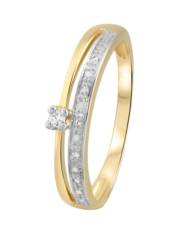 Geelgouden dubbele ring met diamant