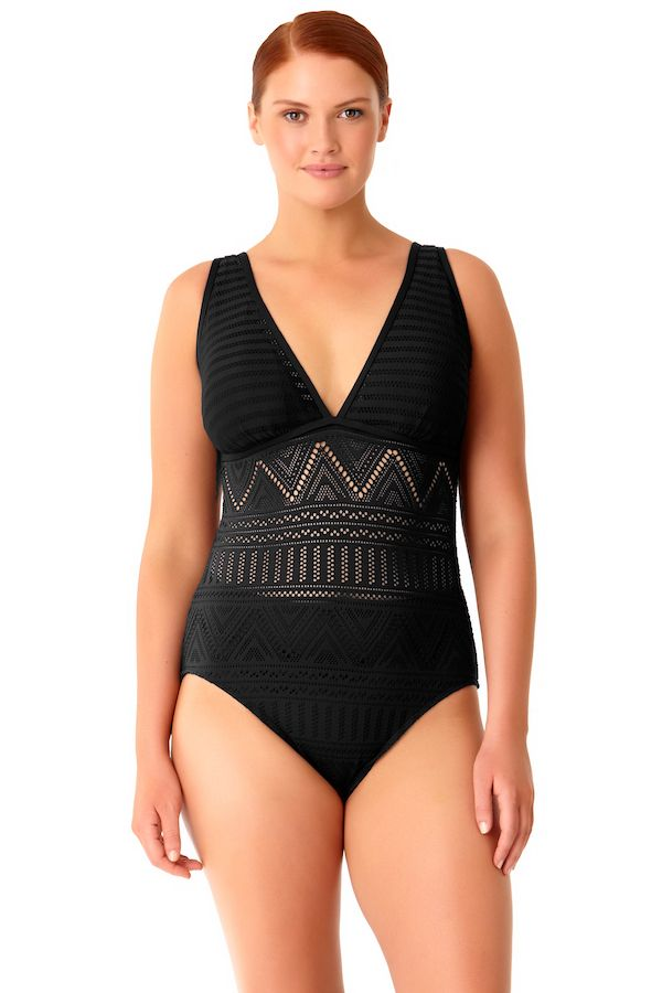 e36773ef20a Consider this your Little Black Swimsuit. This black crochet plus size  swimsuit has an elongating v-neck cut
