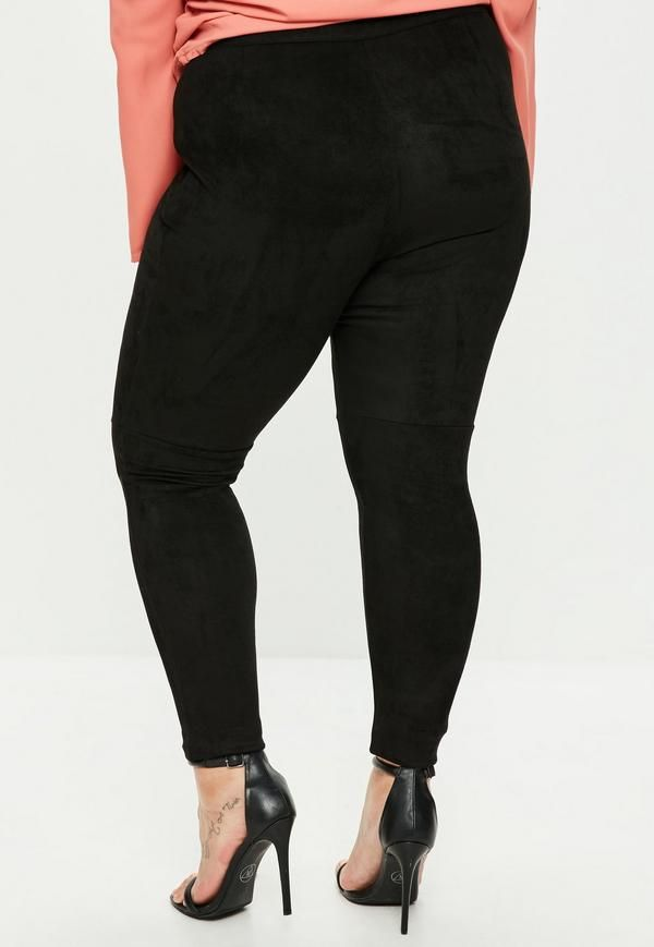 These pants feature a black hue, faux suede fabric and a concealed zip to the side.