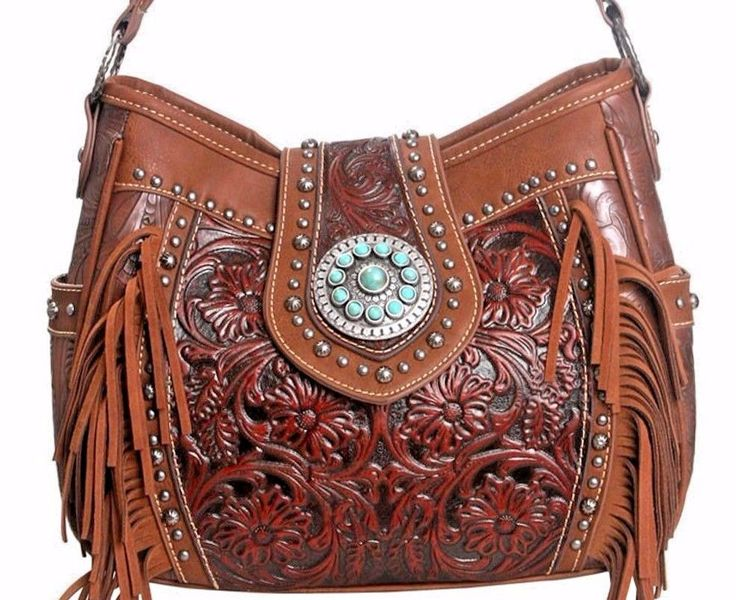 Montana West~Trinity Ranch~Floral Tooled on Leather Fringe Handag~Conceal Gun~BN #MontanaWest #WesternHoboHandbag