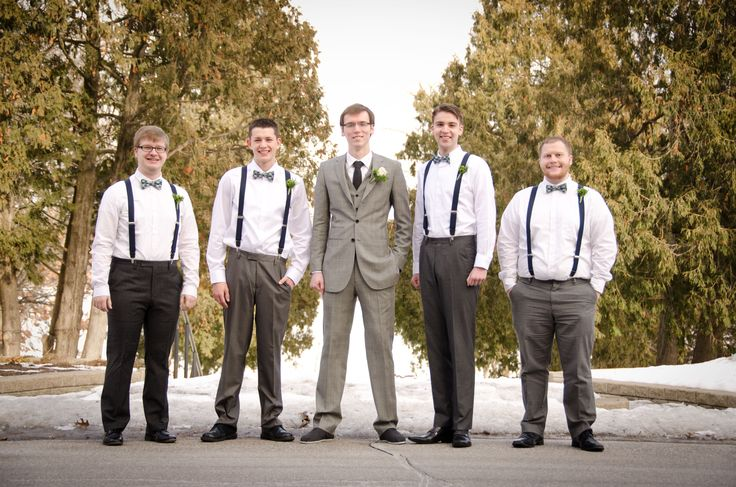 Groom and ushers. Gray suit for groom from Indochino. Gray dress pants, suspenders, and bow ties for ushers. #blatchleywedding