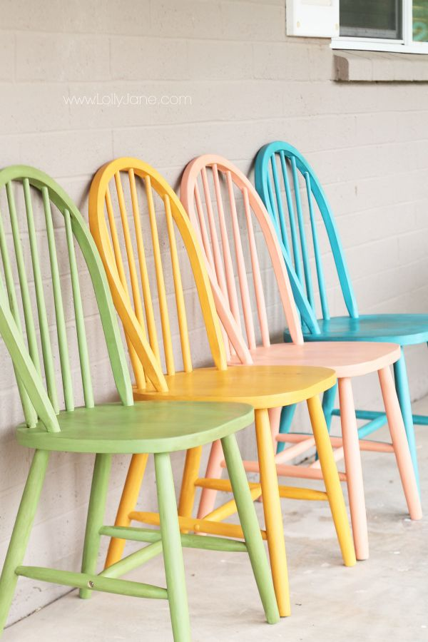 Chalky paint chairs makeover. Link to colorful, organized craft room on www.lollyjane.com