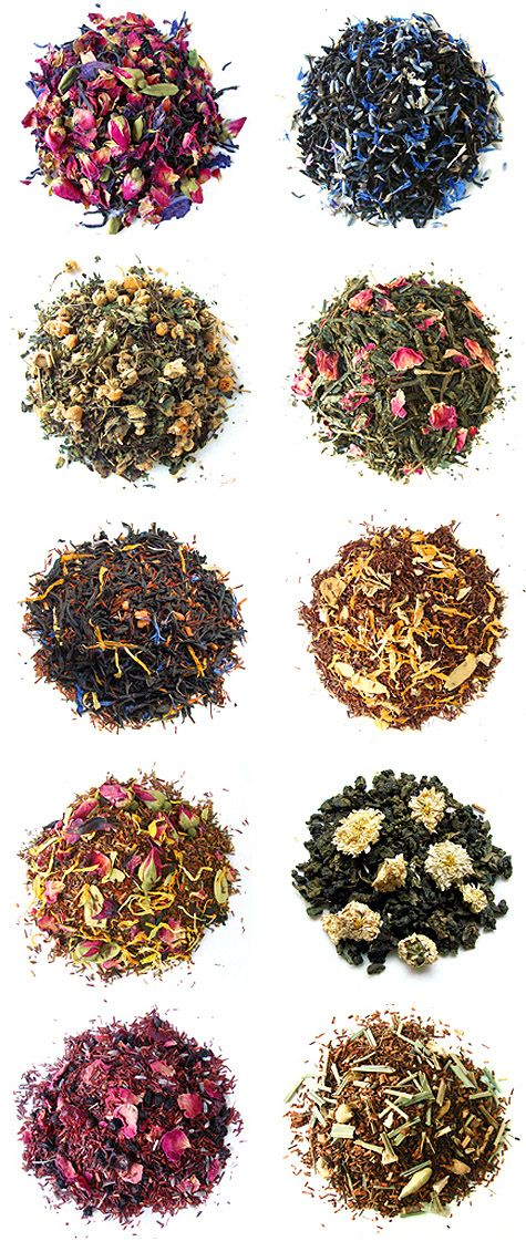 Loose leaf teas Idea of ingredients, how beautiful it look in a pile.