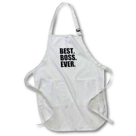 3dRose Best Boss Ever - fun funny humorous gifts for the boss - work office humor - black text, Medium Length Apron, 22 by 24-inch, With Pouch Pockets