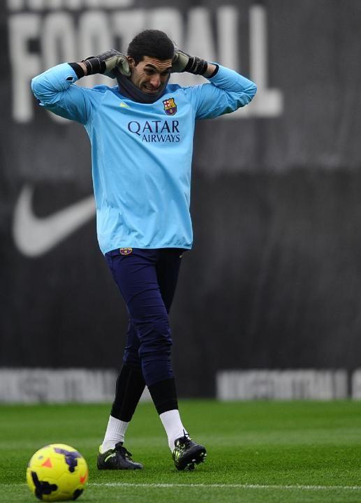 FC Barcelona's goalkeeper Jose Manuel Pinto attends a training session at the Sports Center FC Barcelona Joan Gamper in San Joan Despi, ...