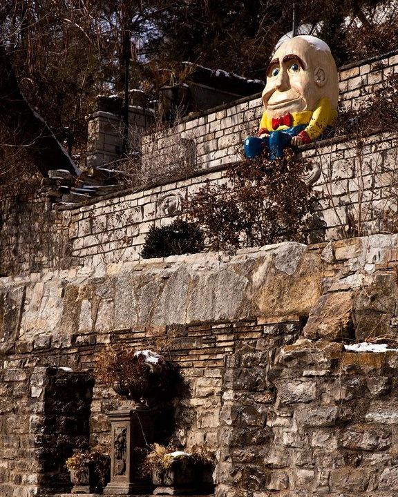 Humpty Dumpty hangs out in Basin Park in Eureka Springs, AR