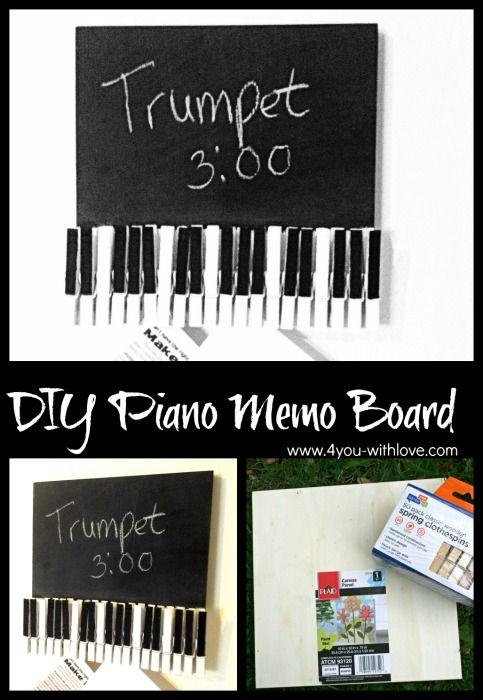 piano memo board with clothespins