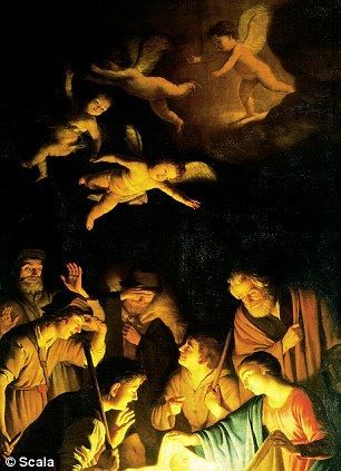 La adoración de los pastores de Gerard van Honthorst, 1620 -Destruido por una bomba de la mafia a la galería Uffizi en 1993-