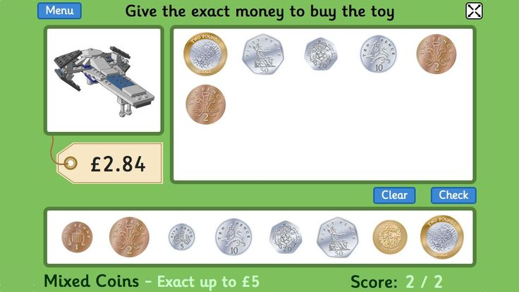 Toy Shop Money Game (GBP) - for 4 to 11 year old children, this free game by Topmarks is updated to feature the new £1.00 coin! Tablet-friendly learning. USD and AUD versions also available ;)