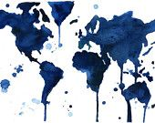 8.5 x 11 Watercolor World Map- It's a Blue Blue World - Jessica Durrant