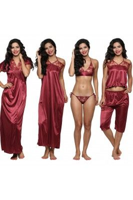Dicover the comfort in these six Pieces women satin nightwear set #onlinenightwearset #nightwearset #onlinenighties #womensfashion #nightweardresses Shop now-  https://trendybharat.com/women/lingeries-sleepwear/gown/women-satin-nightwear-set--bi-9-pink-maroon-fs?mfp=3f-brand%5B723%5D