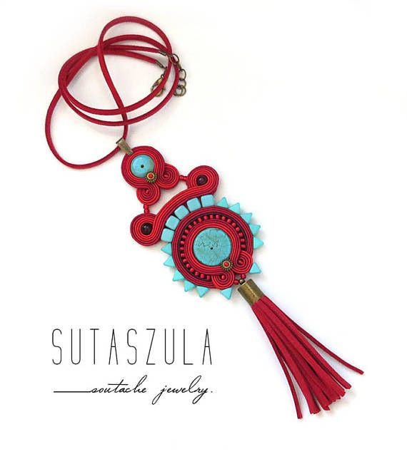 Boho red turquoise tassel colorful necklace soutache OOAK